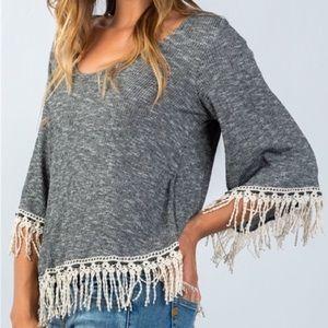 Black & Ivory Boho Bell Sleeve Crochet Fringe Top